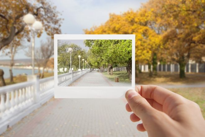 holding instant photo