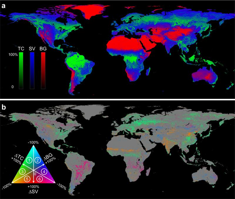 Красным показана земля без растительности, синим — с короткой растительностью, зеленым — с деревьями. На картинке ниже показаны изменения за 1982-2016 годы: лесов стало больше на 2,24 миллиона квадратных километров, короткой растительности — меньше на 0,88, а лишенной растительности суши — на 1,16 миллиона квадратных километров. Иными словами, леса наступают на пустоши и степи / ©Xiao-Peng Song et al